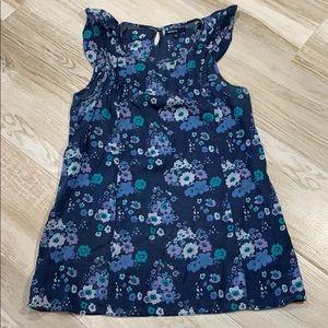 GAP Navy Blue Floral Flutter Sleeve Maternity Top